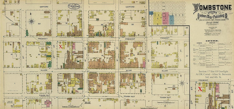 Map Of Arizona Historical Sites.Amazon Com Historic Map Of Tombstone Arizona Site Of 1881 Gunfight