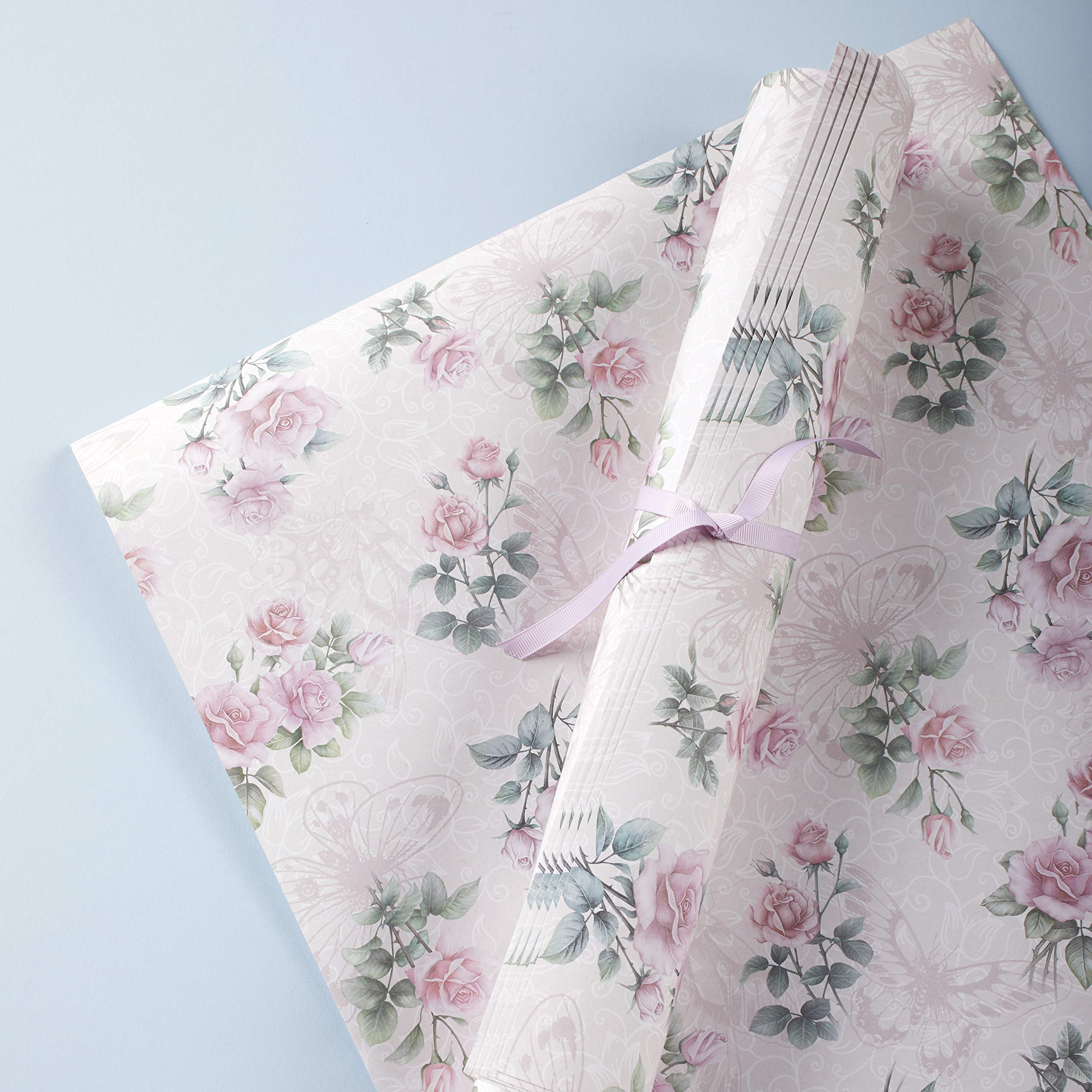 The Lakeside Collection Floral Scented Paper Drawer Liners for Cabinets - 6 Sheets - Rose
