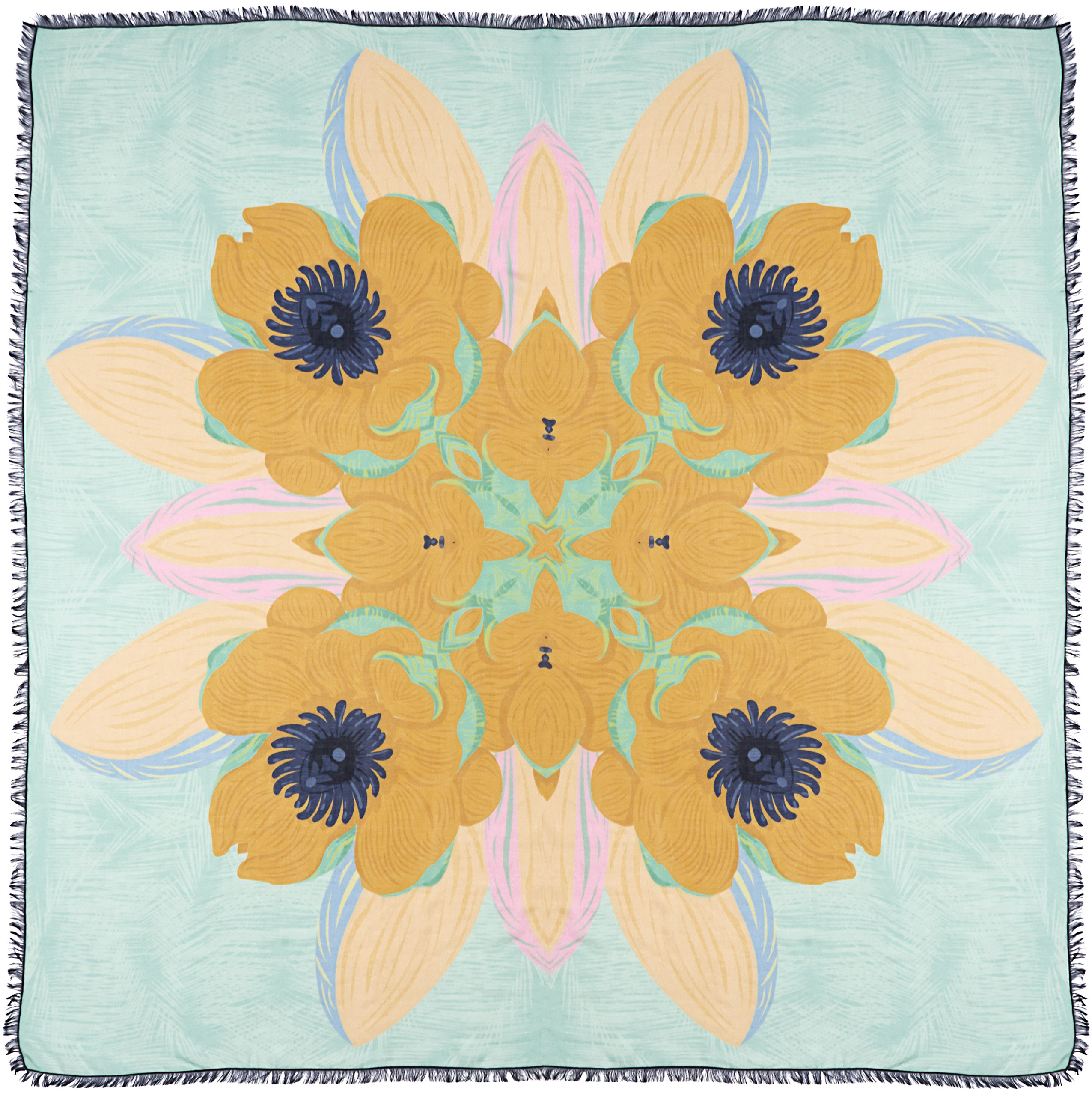 R. Culturi Handmade in Italy Modal Silk Luxury Artwork Scarf Shawl (Teal/Yellow) by R. Culturi