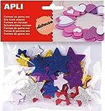 APLI - Bolsa formas EVA adhesiva purpurina formas estrella color, 50 uds