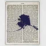 Alaska Flag Canvas Wall Decor - 8x10 Decorative AK State Map Silhouette Encyclopedia Art Print - Ready To Hang - Home State L