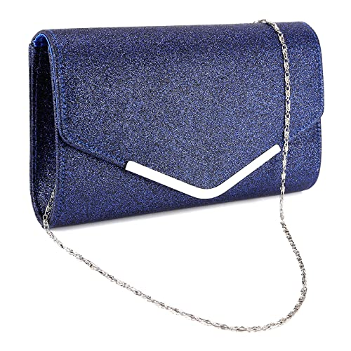 8a4ddb0b3862 Anladia Bliebte Glitzernd Luxus Clutch Abendtasche Damen Umh ngetasche Kettentasche  silber gold (dunkelblau)