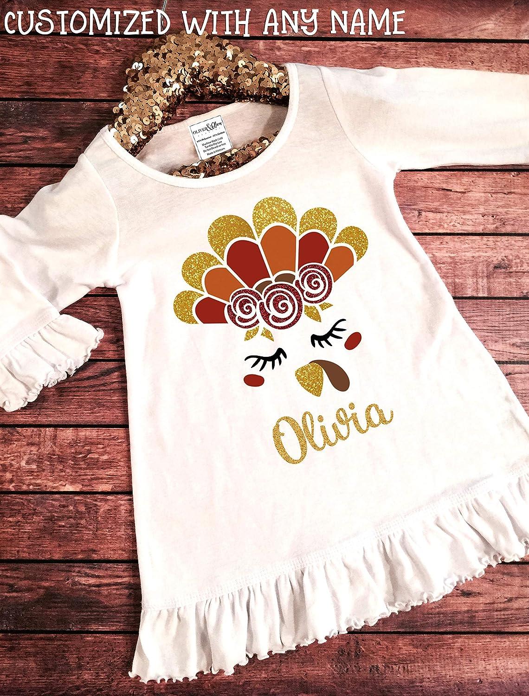 Personalized Monograms Orange Cotton Toddler Long Sleeve Ruffle Shirt Top
