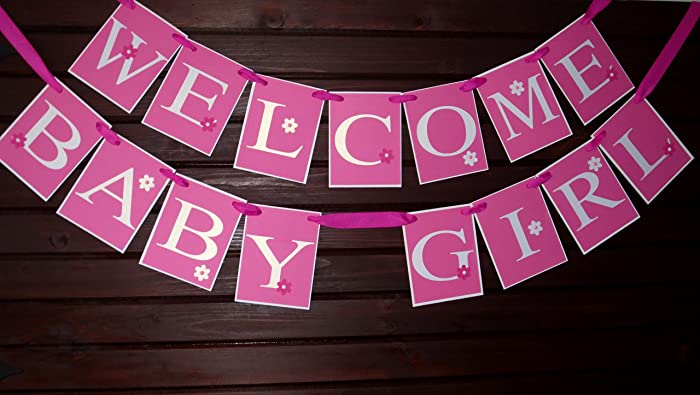 Amazoncom Baby Shower Banner Welcome Baby Girl Banner Names Banner