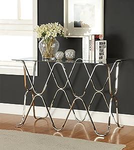 Furniture of America Mirella Contemporary Sofa Table, Chrome