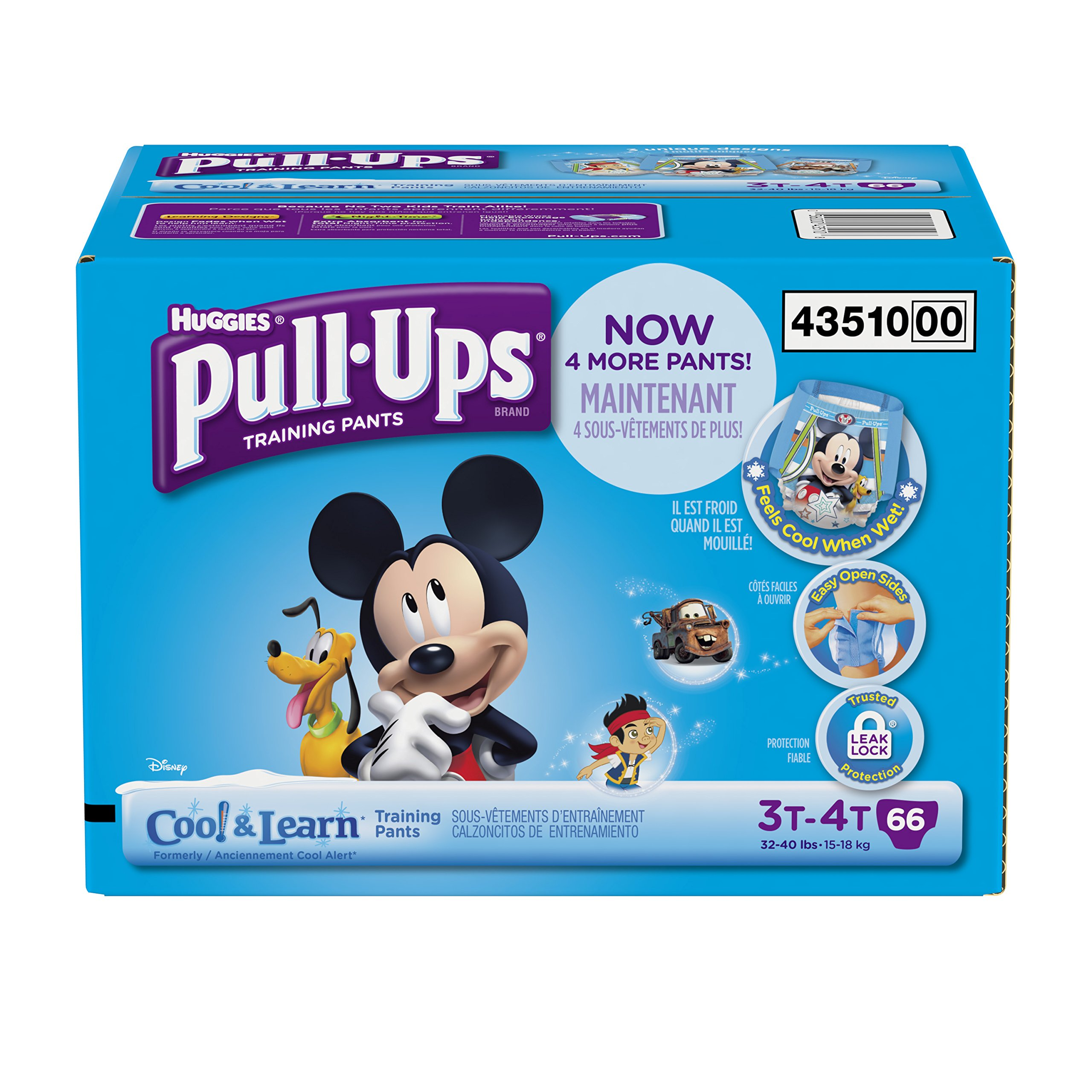 Huggies Pull-Ups Training Pants with Cool and Learn for Boys, Size 3T-4T, 66 Count
