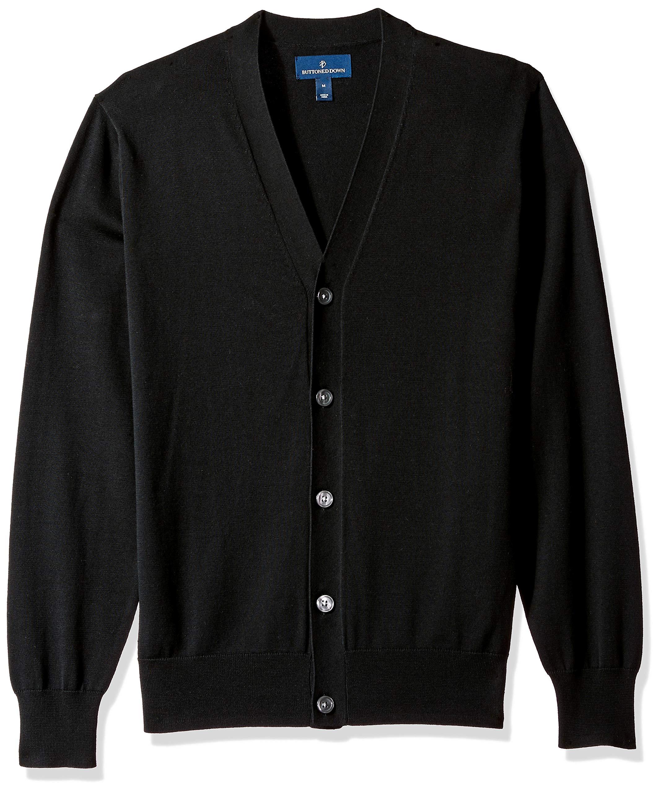 BUTTONED DOWN Men's Supima Cotton Lightweight Cardigan Sweater, black, Medium