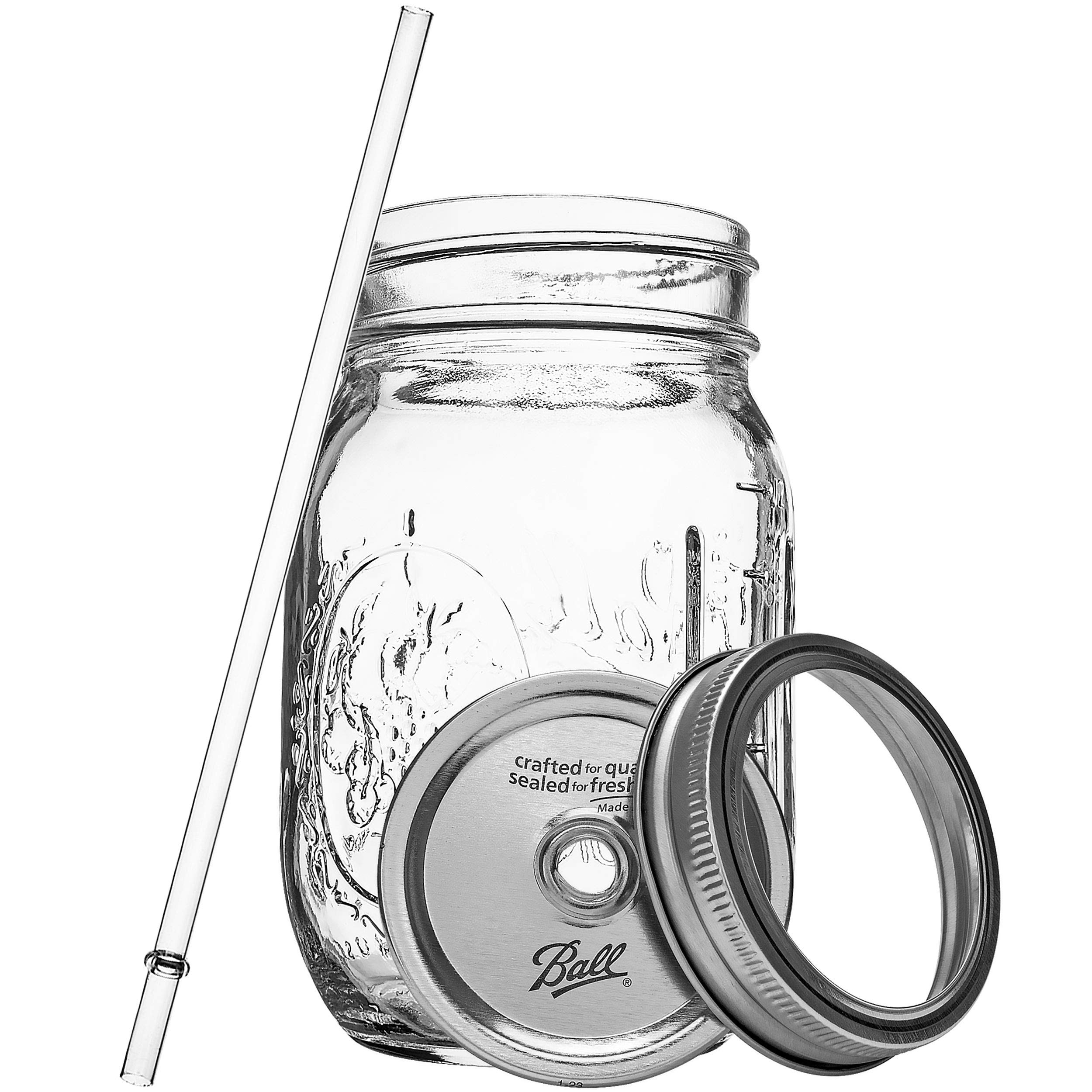 Ball RNWG-SIP-16OZ-2PK Sipper Set a 16oz Mason Jar + Sippin' Lid + Acrylic Straw Reusable Novelty Cocktail Glasses Shabby Chic, 2 Pack Clear by Ball (Image #3)