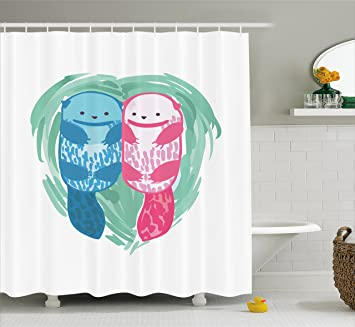 Otter Shower Curtain By Ambesonne Cute Water Mammal Watercolor Abstract Animal Pattern Aquatic Marine Life