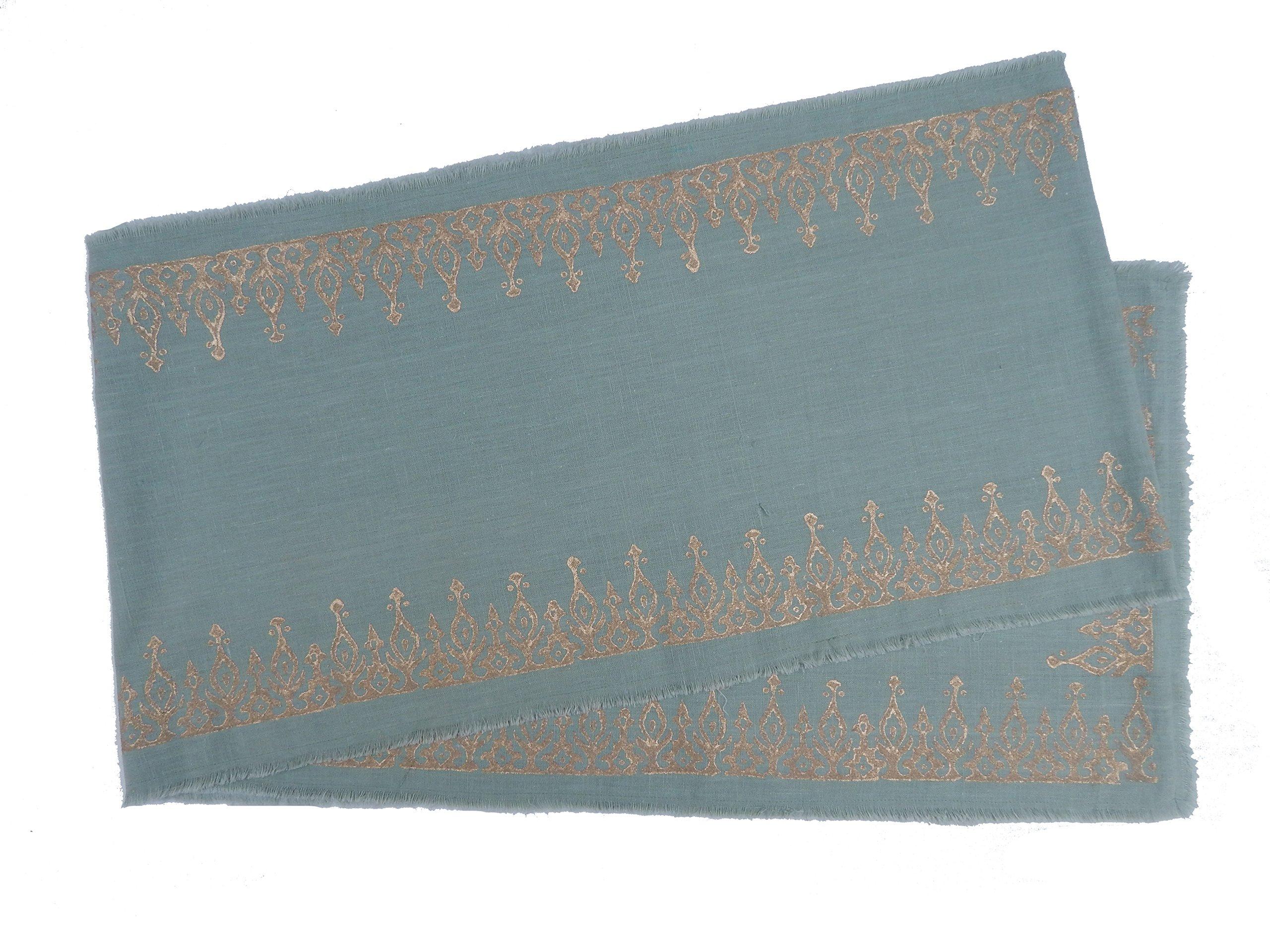 Gitika Goyal Home Cotton Khadi Gold Hand Block Printed 13x104 Runner Long Kangura Design, Patina