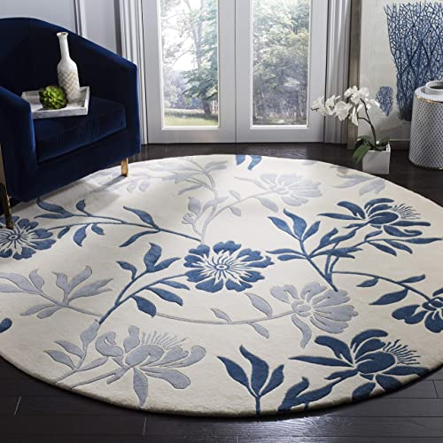 Safavieh Capri Collection CPR345A Handmade Ivory and Blue Premium Wool Round Area Rug 7 Diameter