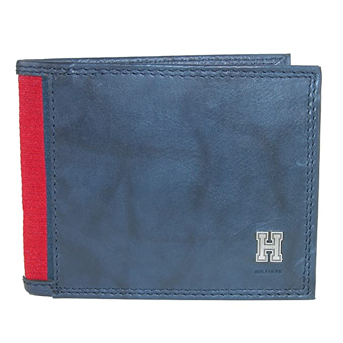 (One size, Navy) - Tommy Hilfiger Mens Rfid Blocking Leather Extra Capacity Traveller
