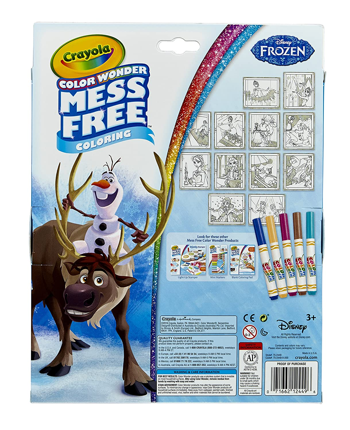 Crayola Frozen Color Wonder Mess-Free Coloring Glitter Paper and Markers Great for Travel Binney /& Smith 75-2449 Art Tools