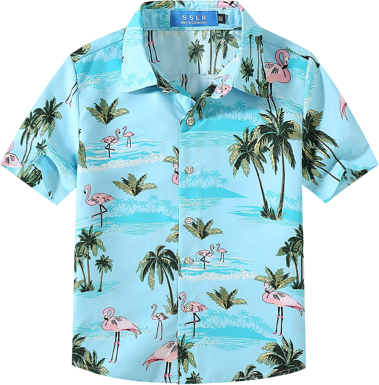 SSLR Big Boys Printed Button Down Casual Short Sleeve Hawaiian Shirt