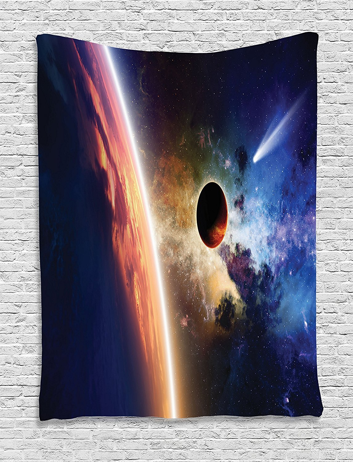 asddcdfdd Outer Space Decor Tapestry, Comet Approaches Planet Scientific Facts Realities in Solar System World Scene, Bedroom Living Room Dorm Decor, 40 W x 60 L Inches, Red Blue