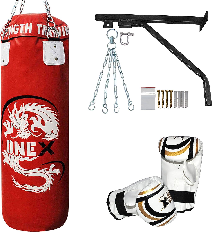 ONEX Juego de 3 – Saco de Boxeo Pesado Saco de Boxeo Guante Soporte Cadenas Nivel 1 Lucha formación Conjuntos