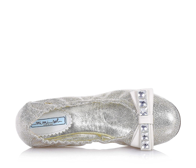 MI. MI. Sol - Platinfarbene Ballerina aus Leder, elastischer made in , oberer elastischer Leder, Saum, auf der Vorderseite, Mädchen, Damen 7cf641