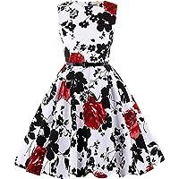 Kate Kasin Girls Sleeveless Polk Dot Casual Swing Dresses with Belt