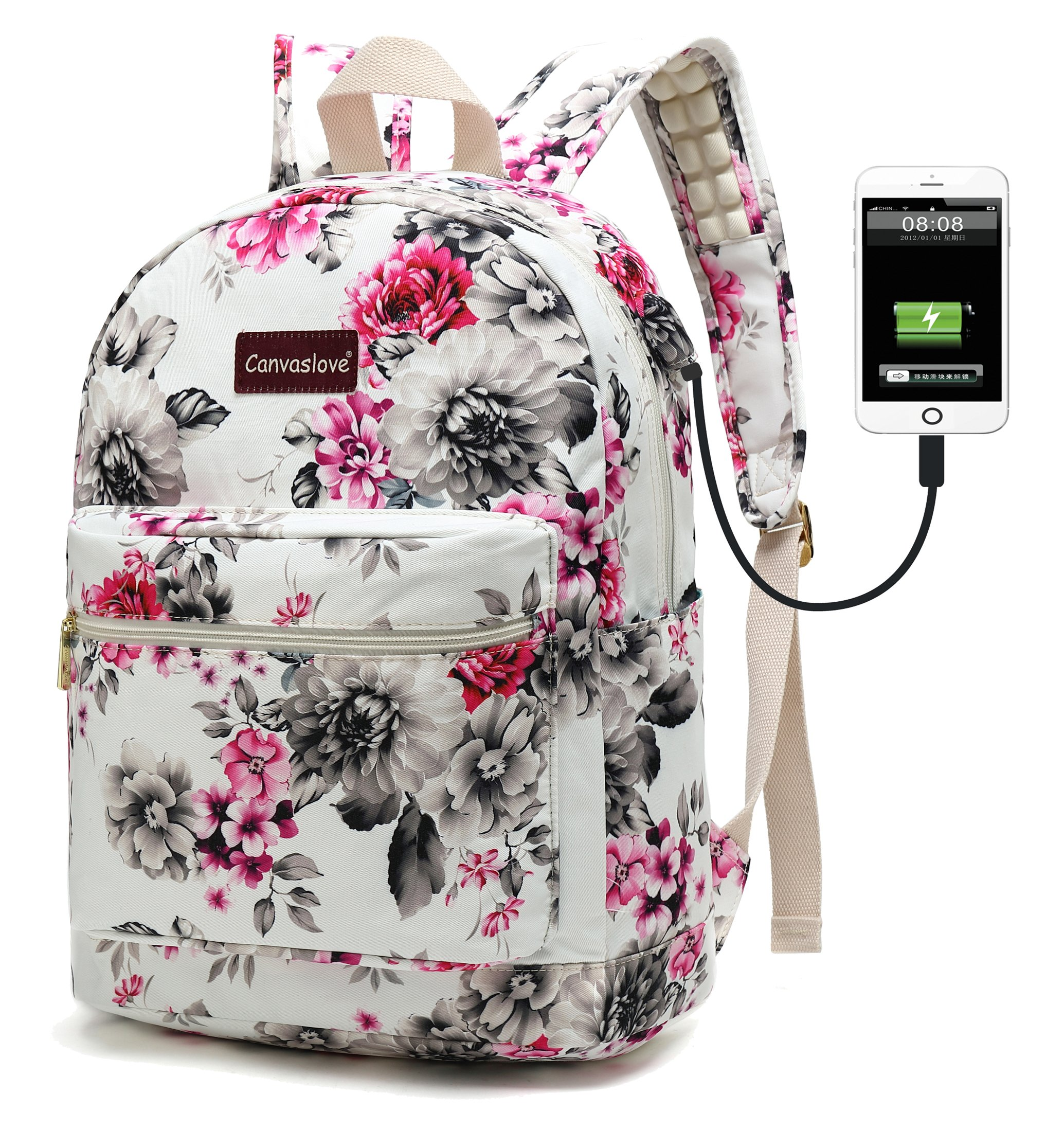 Canvaslove Canvas Waterproof laptop backpack with Massage Cushion Straps and USB charging port for laptop up to 15 inch Men Women Student Outdoor Travel Backpack (White Chrysanthemums)