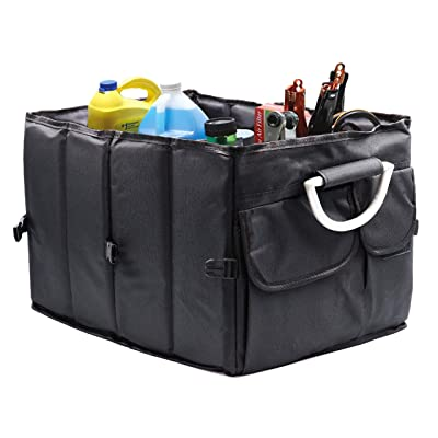 AG Car Trunk Storage Organizer Collapsible Cargo Storage Containers Portable Heavy Duty Multi Compartments for Car SUV Truck Auto Minivan Metal Handle Grocery Organizer with Straps Waterproof: Automotive