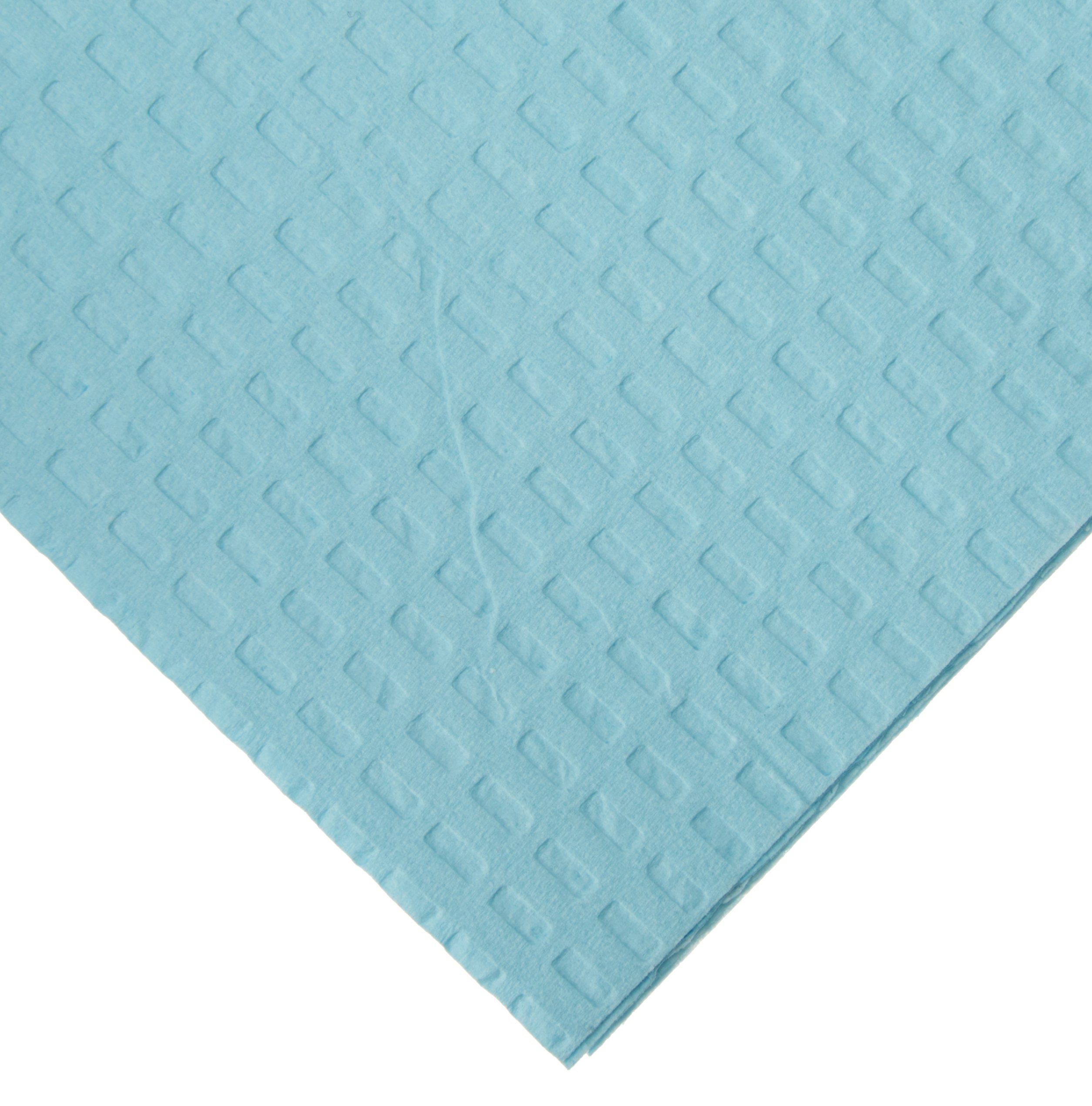 TIDI Products 917403 3-Ply Tissue/Poly Patient Bib/Towel, Waffle Embossed, Blue, 13'' Length x 18'' Width (Pack of 500)