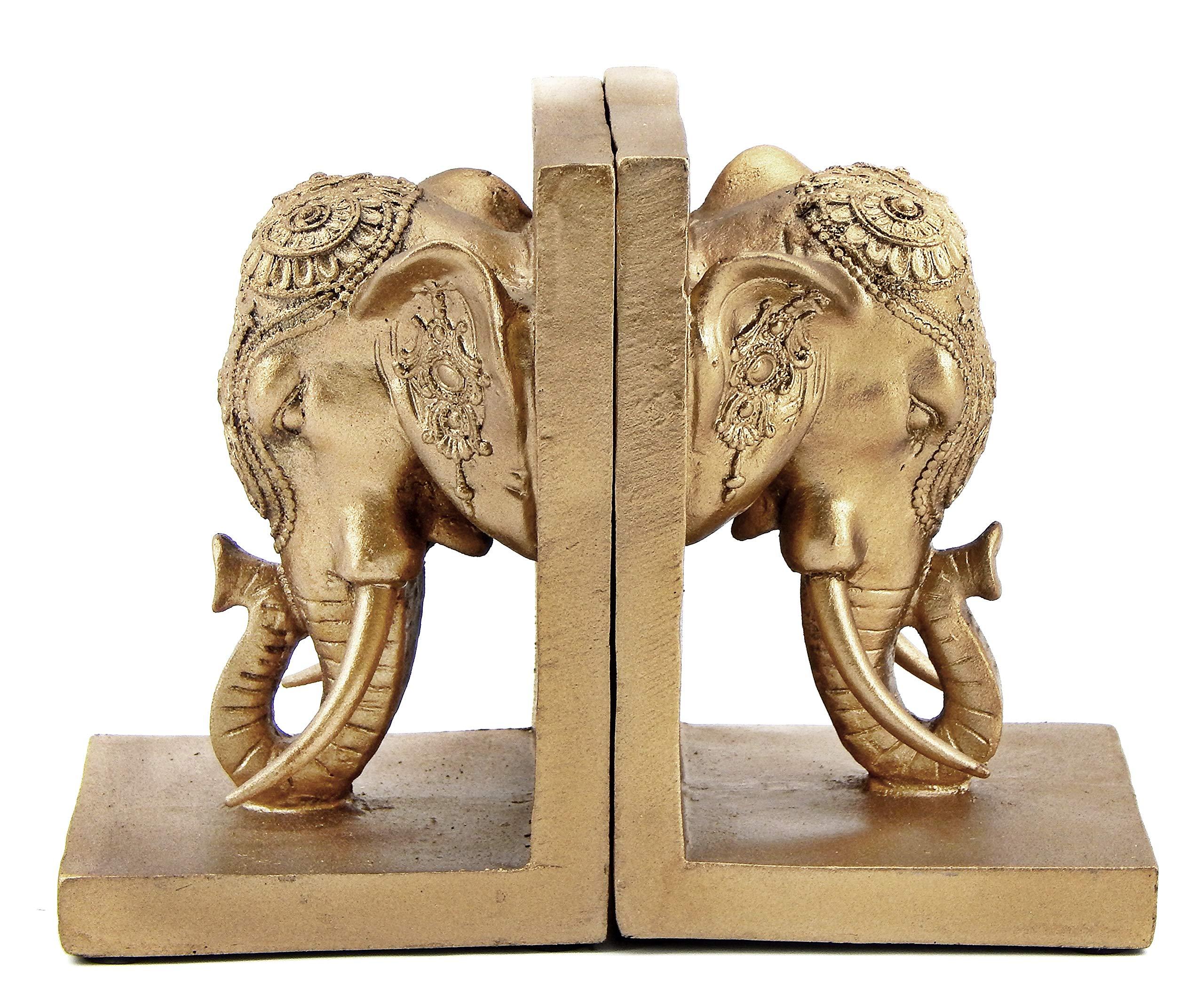 Bellaa 21817 Bookends Elephant Head Bookshelf Decor 7''