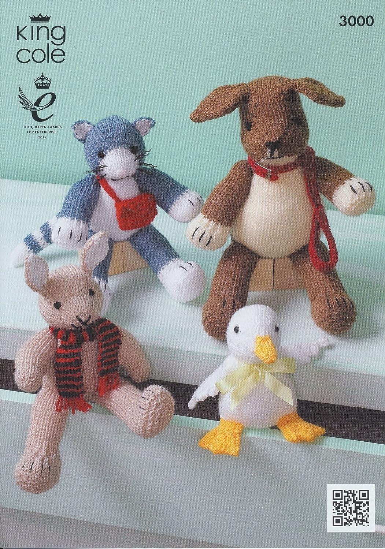 King Cole Toy Animals in Aran & DK Knitting Pattern 3000: Amazon.co ...
