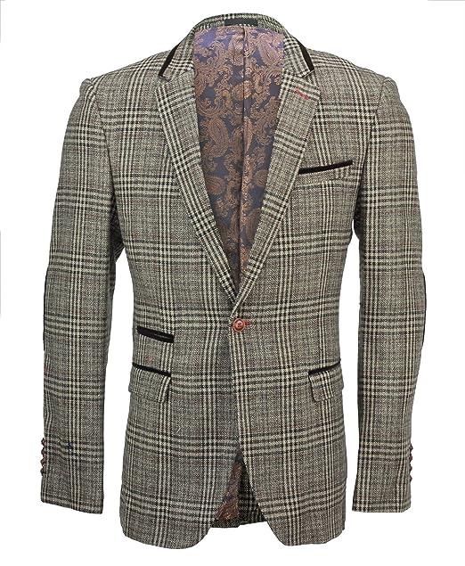 Amazon.com: XPOSED Mens Tweed Brown Checked Designer Vintage ...