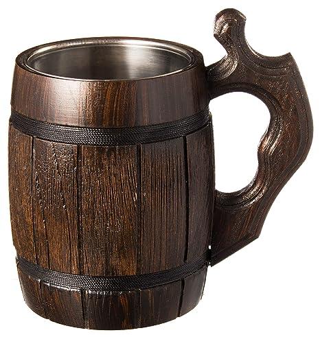 Handmade Beer Mug Oak Wood Stainless Steel Cup Natural Eco Friendly 06 Liters 20 Ounces Barrel Brown