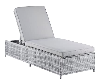 Merveilleux ELLE Décor Vallauris Outdoor Storage Chaise Lounge   Gray Wicker