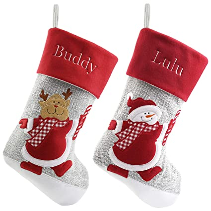 7c83784f8 Amazon.com  WEWILL Personalized Christmas Stockings Home Decorations ...