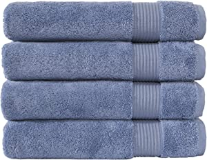 Classic Turkish Towels Luxury Bath Towels - Soft and Plush Hotel and Spa Quality 4 Piece Set Made with 100% Turkish Cotton (Blue)