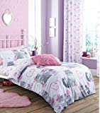 Catherine Lansfield Pretty Kitty Duvet Set, Grey - Single