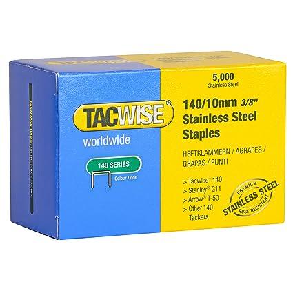 Tacwise 0477 Grapas de acero inoxidable de tipo 140/10 mm 10 ...