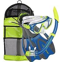 U.S. Divers Dorado JR Mask Fins Snorkel Set, Fun Blue, Small