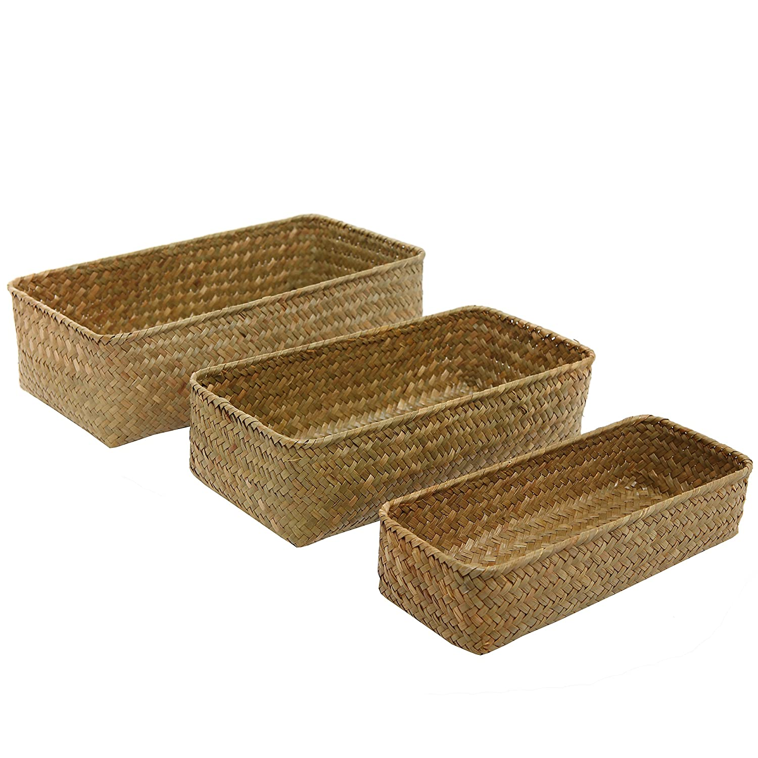 MyGift Set of 3 Rectangular Handwoven Natural Seagrass Wicker Nesting Storage Baskets and Home Organizer Bins SPOMHNK3899