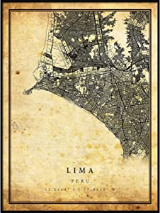 Lima map Vintage Style Poster Print | Old City Artwork Prints | Antique Style Home Decor | Peru Wall Art Gift | Vintage map Reprint 8.5x11