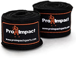 """Pro Impact Mexican Style Boxing Handwraps 180"""" with Closure – Elastic Hand & Wrist Support for Muay Thai Kickboxing Training Gym Workout or MMA for Men & Women - 1 Pair"""