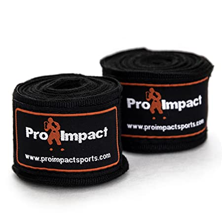 """Pro Impact Mexican Style Boxing Handwraps 180"""" with Closure – Elastic Hand & Wrist Support for Muay Thai Kickboxing Training Gym Workout or MMA for Men & Women - 1 pair (Black)"""