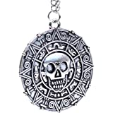 Ciondolo a forma di moneta / medaglione azteco con teschio, stile Pirati dei Caraibi