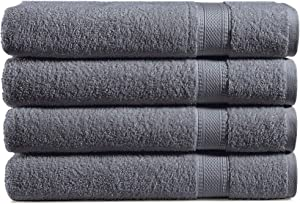 100% Cotton 4-Piece Bath Towel Set: 500 GSM Luxuriously Sized (30 X 54 Inch), Classic Amercian Construction, Soft, Highly Absorbent, Machine Washable (Dark Grey)