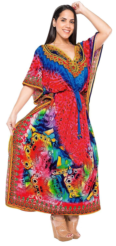 LA LEELA 2 Digital Womens Kaftan Kimono Summer Beachwear Cover up Dress