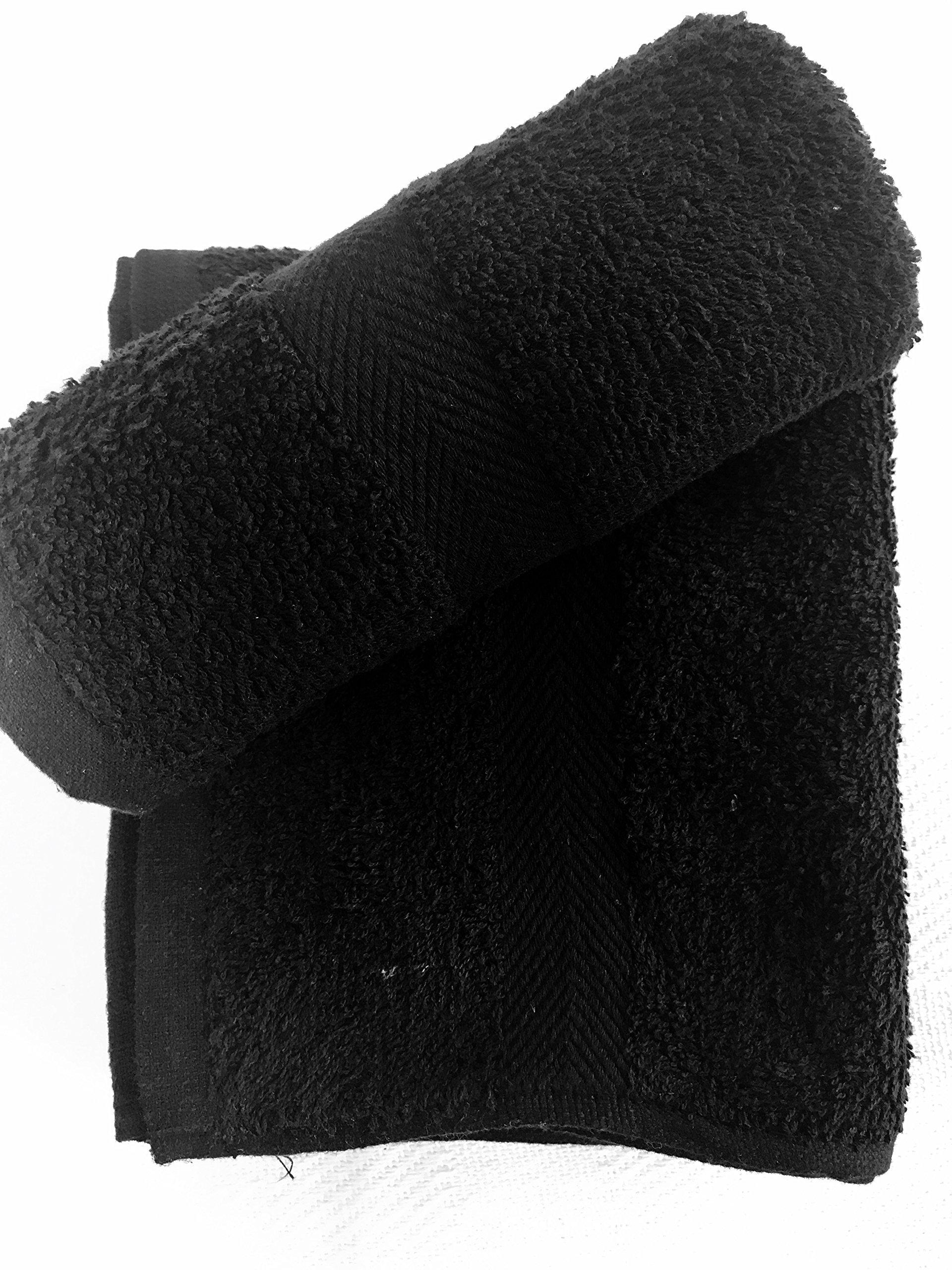 120 NEW BLACK SPA GYM SALON HAND TOWELS DOBBY BORDER RINGSPUN 100% COTTON 16X27 3LBS