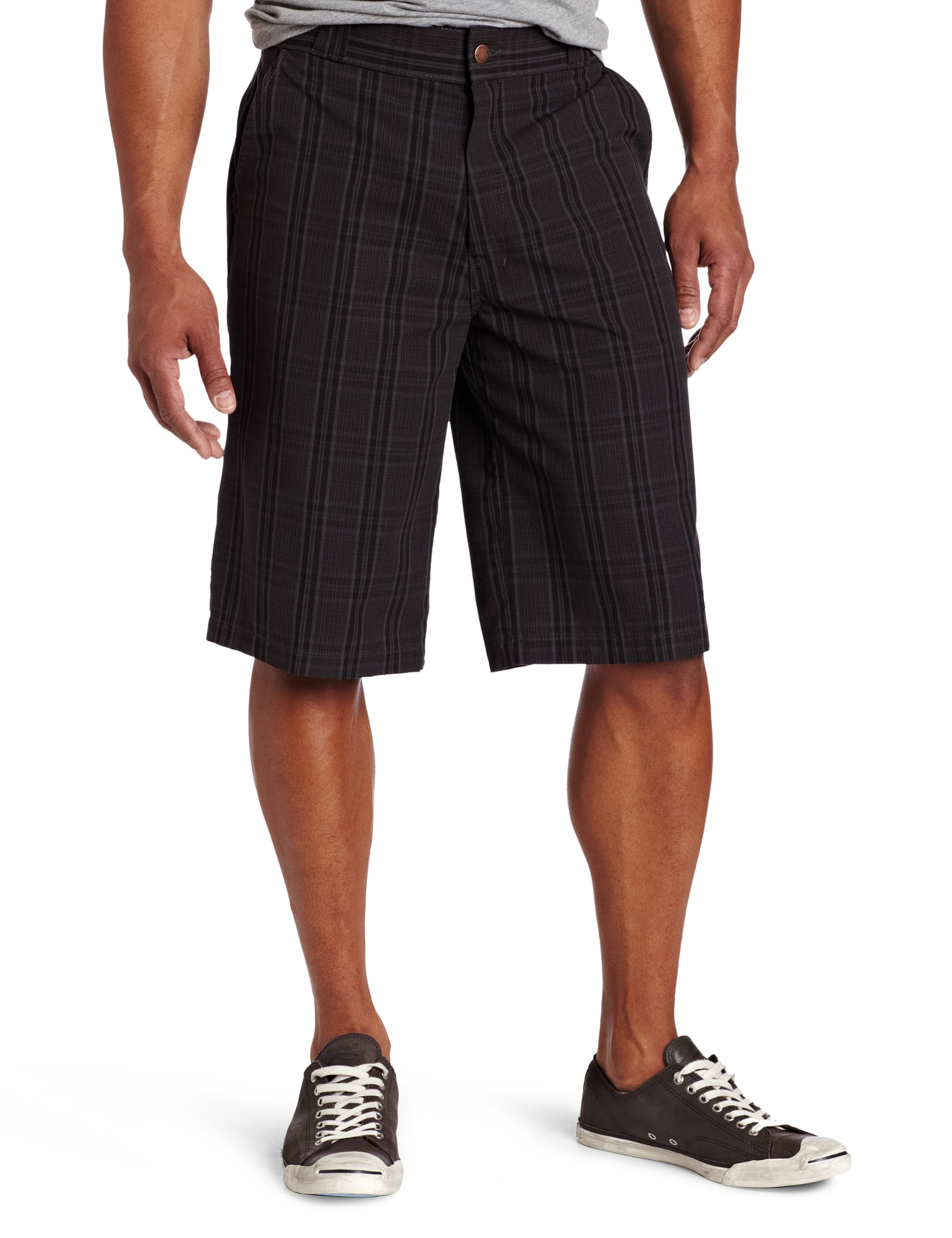 Dickies Men's 13 Inch Plaid Short, Charcoal, 36