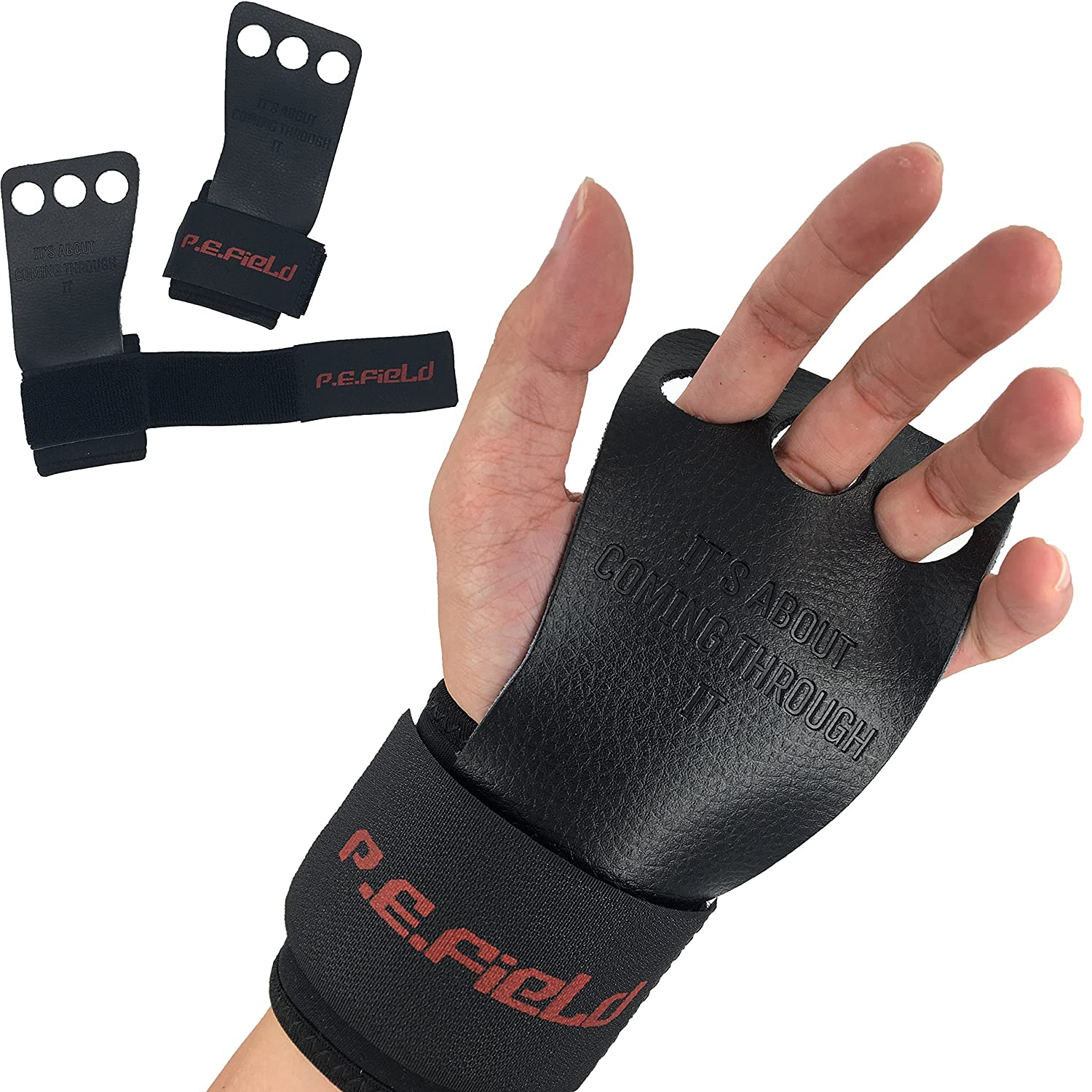 Pull ups Weightlifting /&More Kettlebell for Crossfit Protect Your Palms and Wrists. P.E.Field Top-Grain Leather Gymnastics Hand Grips with Unique Wrist Protection System