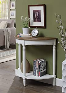 Convenience Concepts 6042182DFTW Entryway Table, Driftwood Top/White Frame