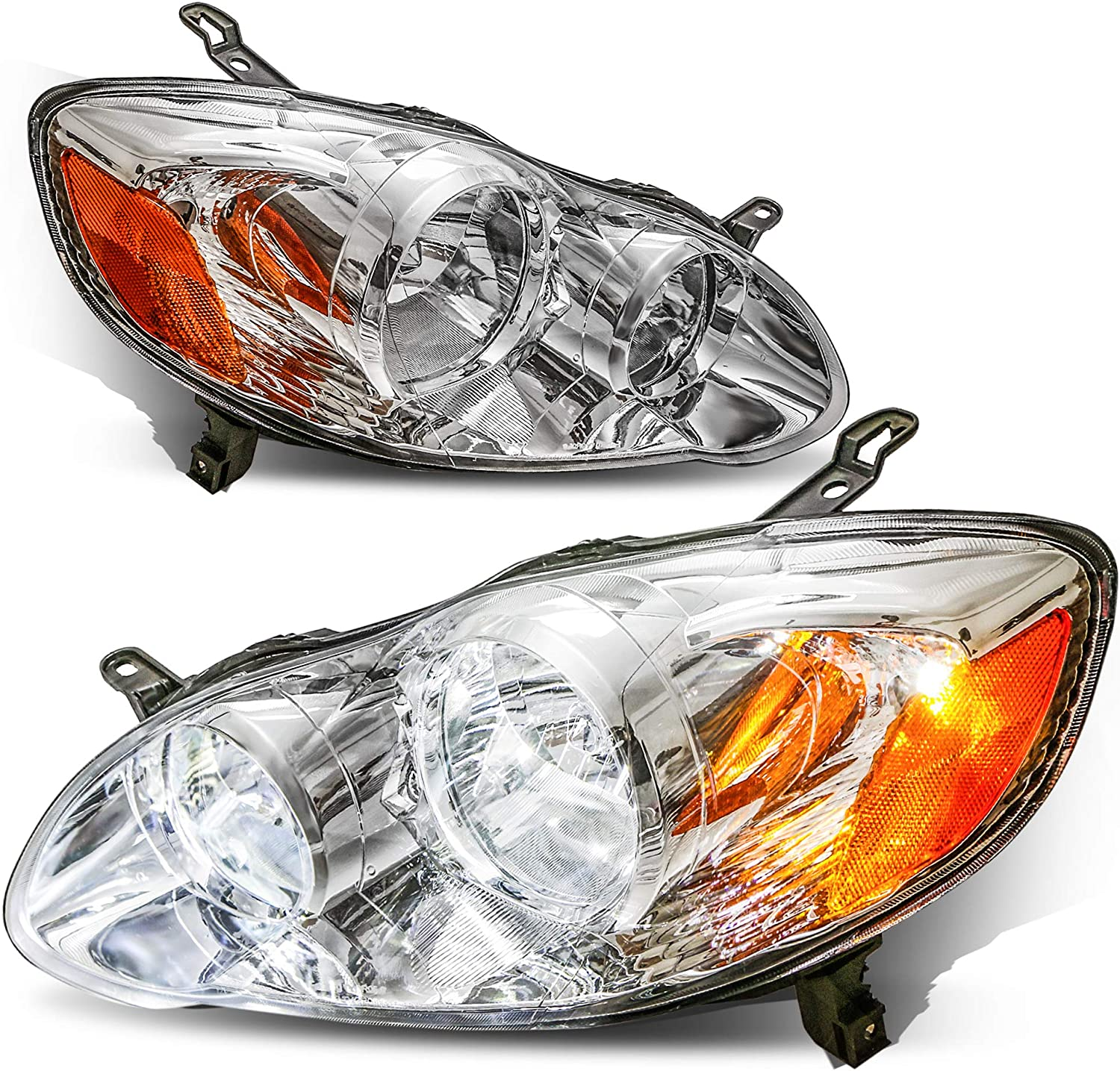Set of 2 Chrome Housing with Amber Reflector Front Lamp MOSTPLUS Headlight Assembly Compatible with 2003 2004 2005 2006 2007 2008 Toyota Corolla
