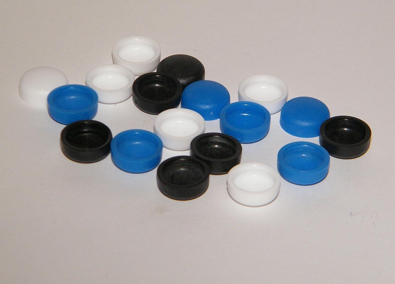 18 x Kennzeichen-Schrauben-Abdeckung.12mm x 9 mm Inndendurchmesser, fü r Schrauben M5 und M6 /4,8mm+5,6mm farblich sortiert NDC