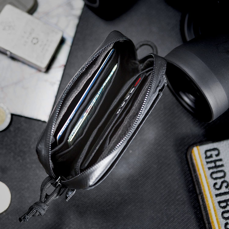 OneTigris Front Pocket Mini Wallet with Waterproof Zippers CASSETTE EDC Pouch 500D Nylon