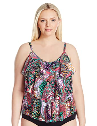 916c8340c8b Kenneth Cole REACTION Women's Plus-Size Gypsy Gem Paisley Tripled Tiered  Tankini, Black,